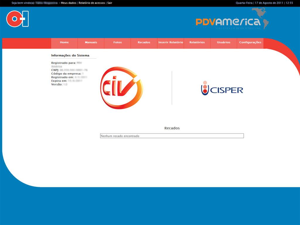 Cliente: O-I<br/><br/>Tela Principal para exibição de recados aos usuários e algumas informações das visitas.