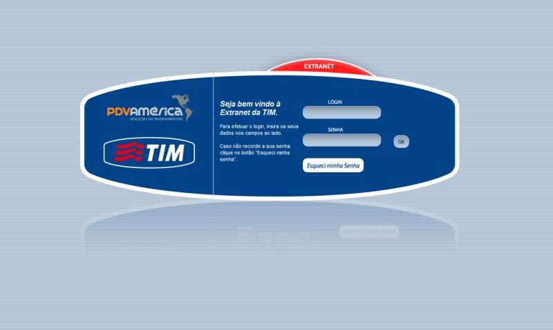 Cliente: TIM<br/><br/>Tela de login.